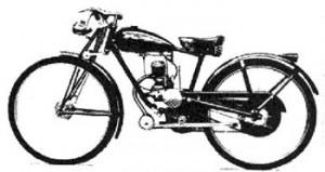 """La primer máquina completa se llamo """"Piuma """". Era, aún, una bicicleta a motor, pero ya tenía suspensión delantera y trasera"""